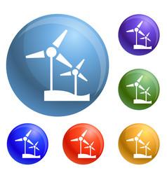 wind turbine icons set vector image