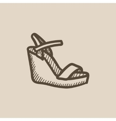 Women platform sandal sketch icon vector