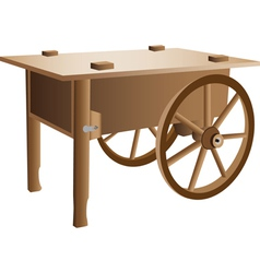 Wooden handcart vector
