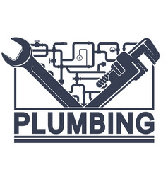 wrench and water pipes plumbing repair vector image
