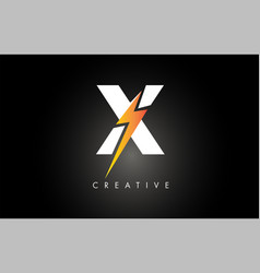 X letter logo design with lighting thunder bolt vector