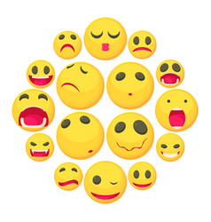 yellow smiles fun icons set cartoon style vector image