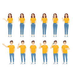 young people in casual outfit set vector image