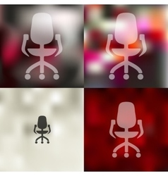 Office chair icon on blurred background vector
