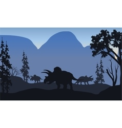 triceratops of silhouette in hills vector image