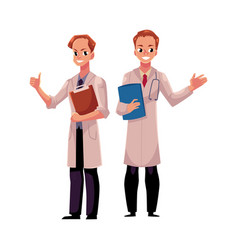 two doctors in medical coats holding folder and vector image