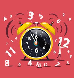 alarm clock with numbers and man flat design vector image