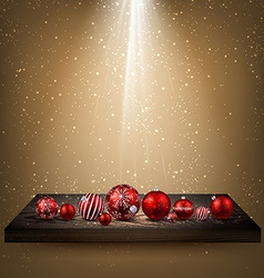 Beige background with christmas balls vector