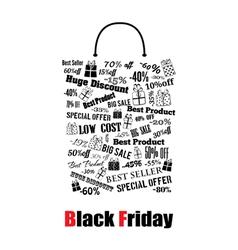 Black friday shopping bag vector