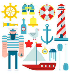 Marine nautical sailor symbols and flat vector