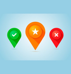 set of map pins with check cross and star signs vector image