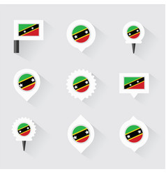 st kitts amp nevis flag and pins for vector image vector image