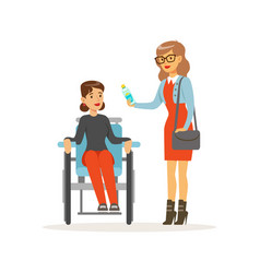 disabled young woman in wheelchair smiling female vector image vector image