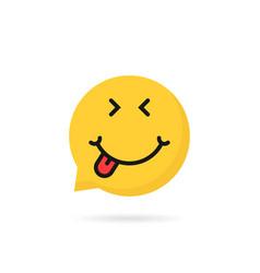 satisfied emoji speech bubble logo vector image