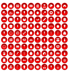 100 confectionery icons set red vector