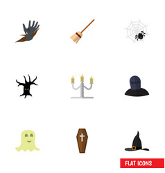 Flat icon festival set of tomb spirit spinner vector