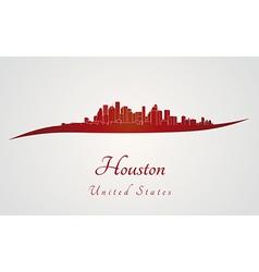 Houston skyline in red vector