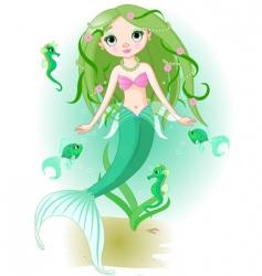 mermaid girl under the sea vector image