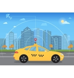 Self-driving intelligent driverless taxi car goes vector