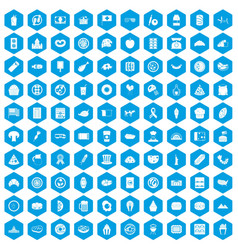 100 sandwich icons set blue vector