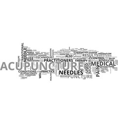 a quick start guide to acupuncture text word vector image