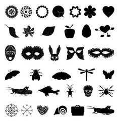 a set of black icons with different images vector image