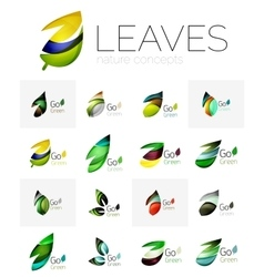 Abstract geometric leaves company logo collection vector image
