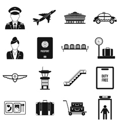 Airport black simple icons vector image
