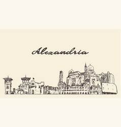 alexandria skyline egypt hand drawn sketch vector image