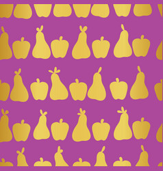 apple and pears gold on purple background seamless vector image