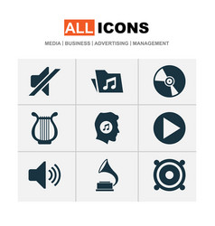 audio icons set with folder vinyl volume and vector image