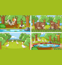 Background scenes animals in wild vector