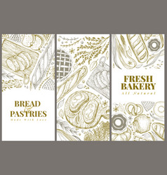 bakery top view design templates hand drawn vector image