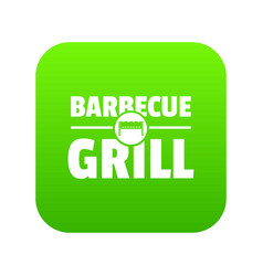 barbecue grill icon green vector image