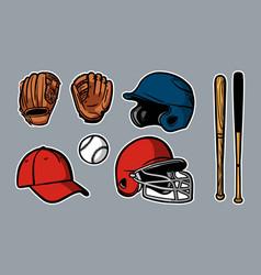 Baseball equipment set clipart icon logo vector