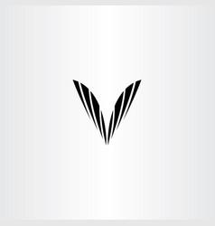 black v letter symbol clip art vector image