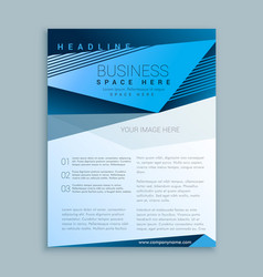 blue brochure flyer poster design template vector image