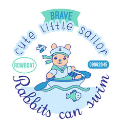 brave cute little sailor five color print for kids vector image