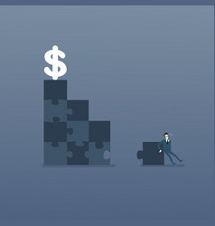 business man solve puzzle making stairs to dollar vector image