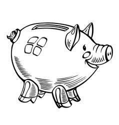 cartoon image of piggy bank vector image