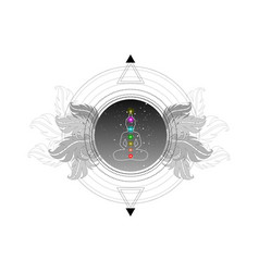 chakras concept buddha silhouette lotus position vector image