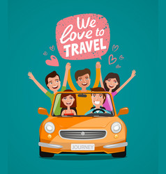 Cheerful young people or happy friends traveling vector