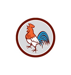 Chicken Rooster Crowing Looking Up Circle Retro vector
