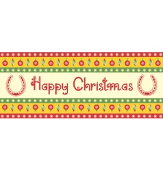christmas decoration background with horseshoes vector image