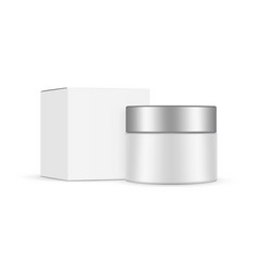 cosmetic jar with metal cap and square box mockup vector image