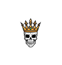 creative skull crown logo design vector image