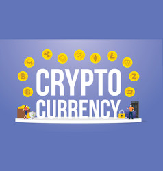 Crypto currency big words with various options of vector