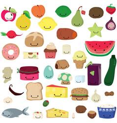 Cute food kawaii vector