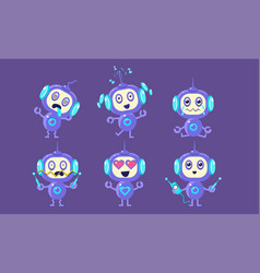 cute robot character set funny adorable robotics vector image