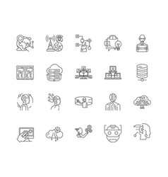 Data science line icons signs set vector